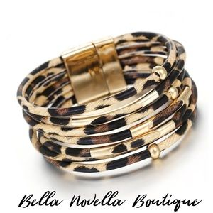 🆓 LYRA Leather Leopard Print Bangle Cuff Bracelet